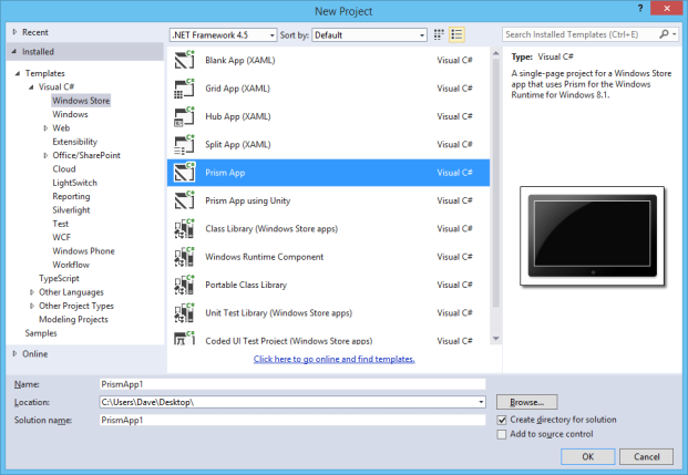 Prism for the Windows Runtime Templates (Win 8.1) - Visual Studio ...